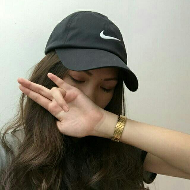 Black Nike Cap Hat Tumblr Grunge Vogue Korean Summer Women Fashion ... 6a896779c11