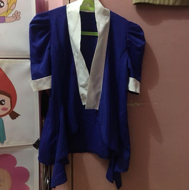 Blue chiffon type blazer