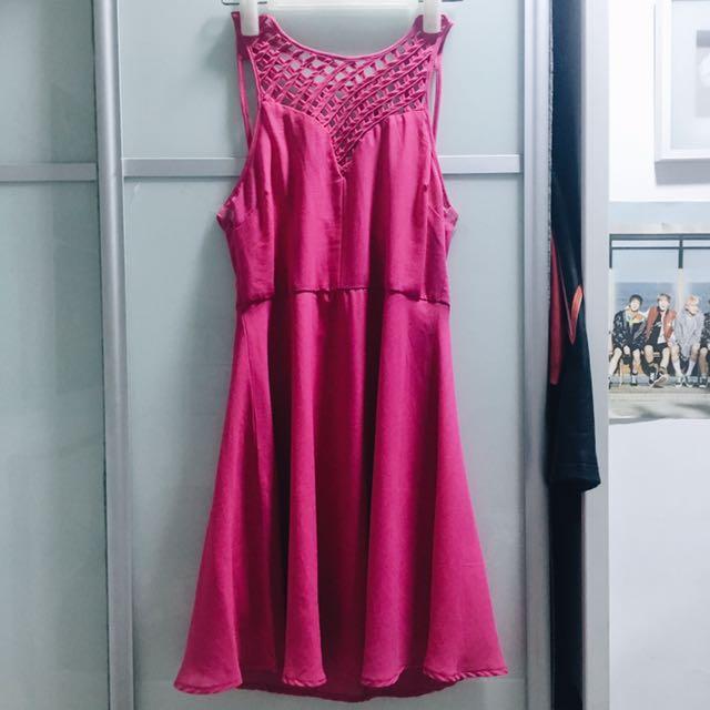 BMWT TEMT Pink Lattice Skater Dress