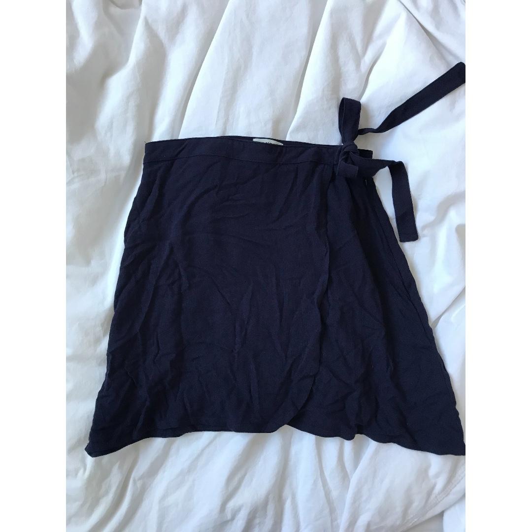 BNWT Elwood Navy Wrap Tie Mini Skirt Size 8