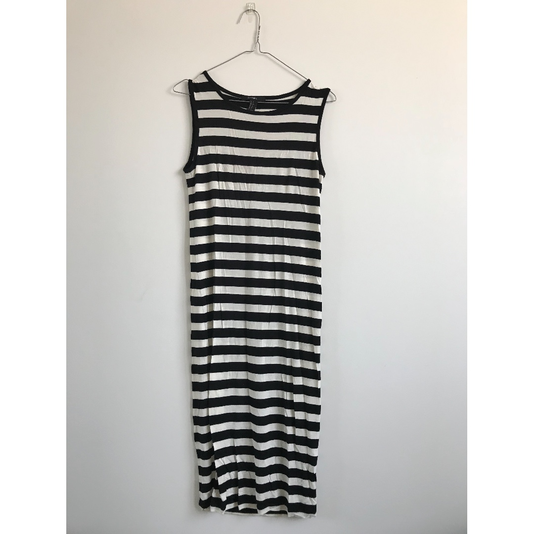 Brand New Forever 21 Black and Cream Stripe Singlet Midi Dress Size Small