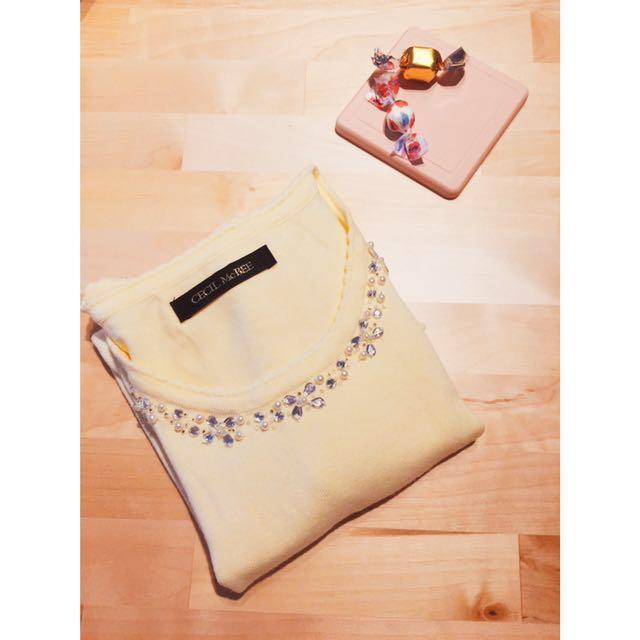 🇯🇵CECIL Mc BEE寶石領口針織短袖上衣-嫩黃/M