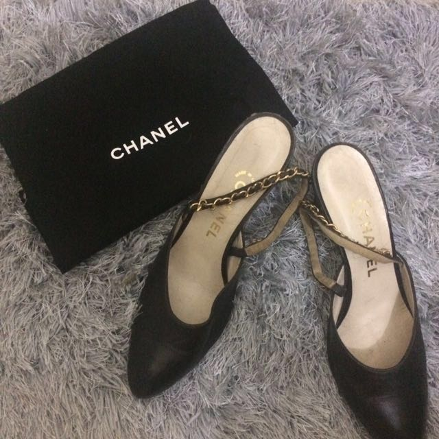 Chanel Authentic Chain Slingback Heels