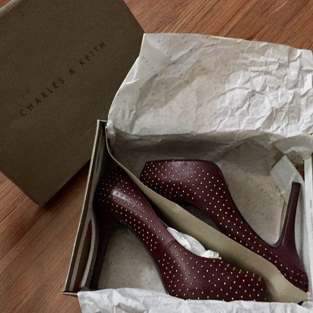 Charles & Keith burgundy heels