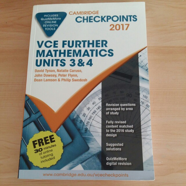 Checkpoints 2017 Futher maths unit 3&4