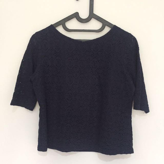 Cloth Inc Navy Blue Lace Blouse