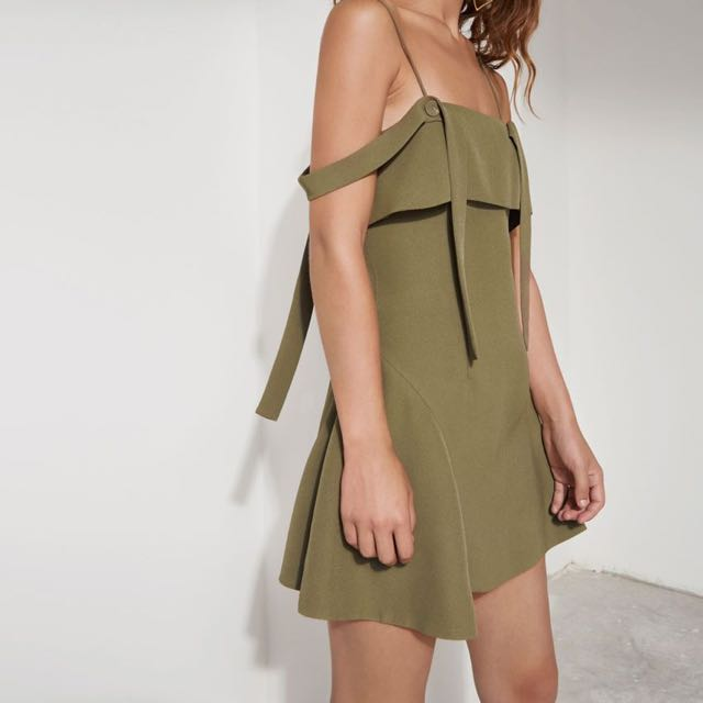 C/MEO Collective -  Vision Dress Khaki - Size Small