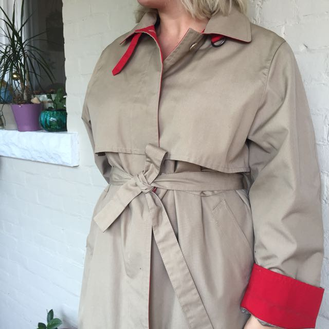 Colour-blocked lined trench coat