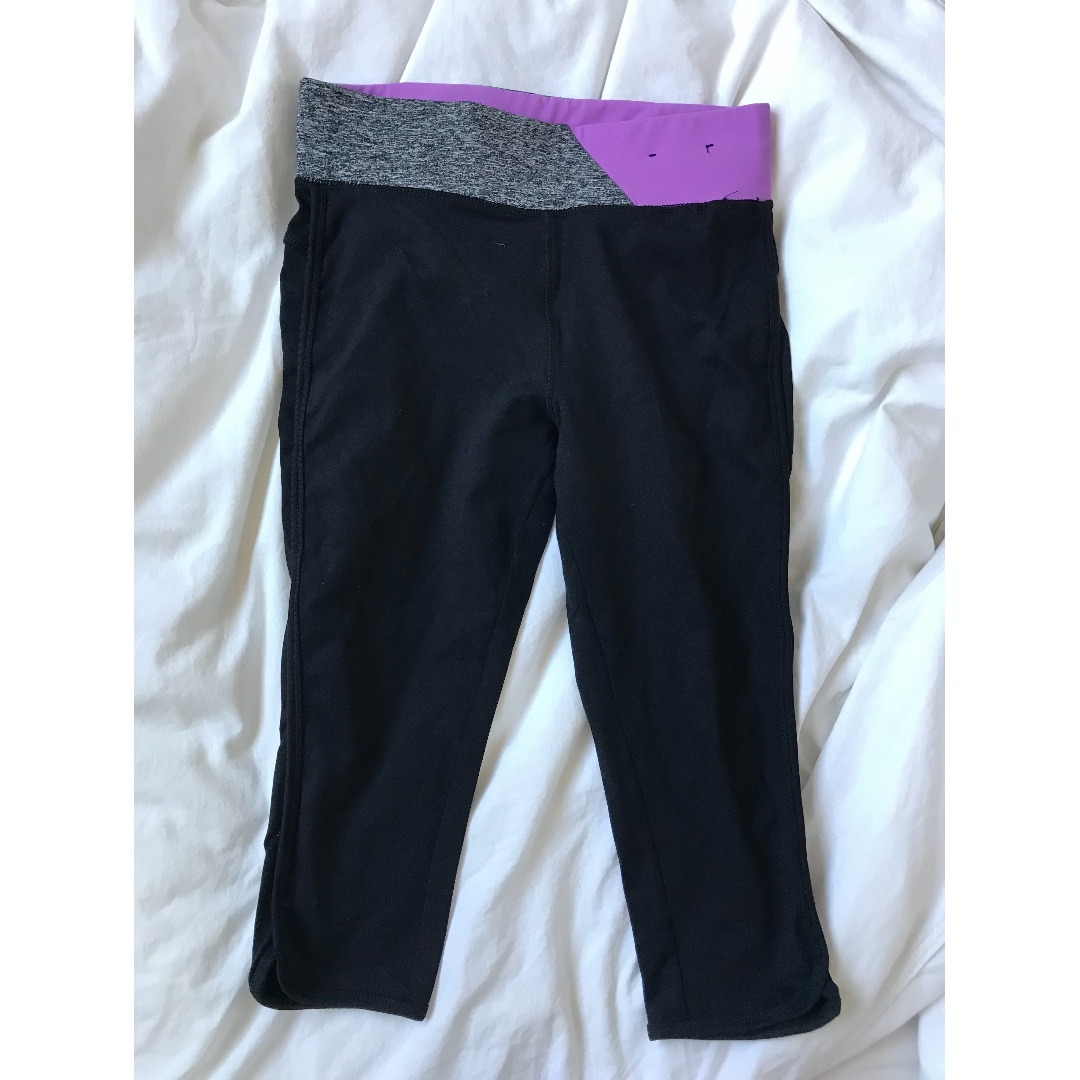 Cotton On Body 3/4 Leggings With Grey/Purple Band Size XS