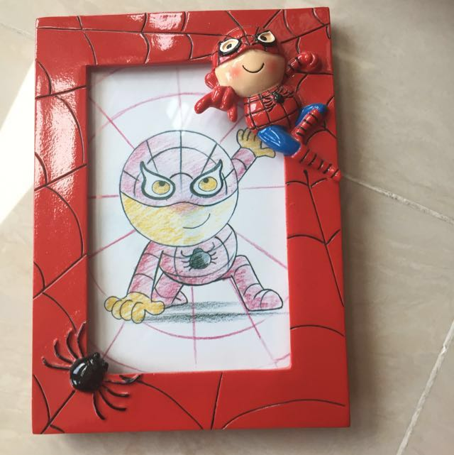 Cute Spider-Man 4R Photo Frame, Furniture, Home Decor on Carousell