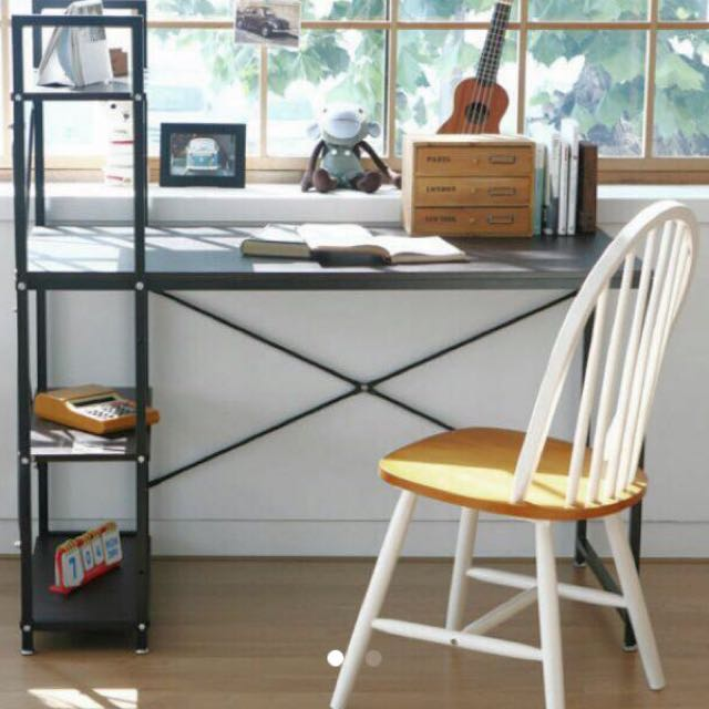 Dark brown study table w/side rack