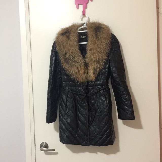 Genuine Leather quilted jacket with Fur hood