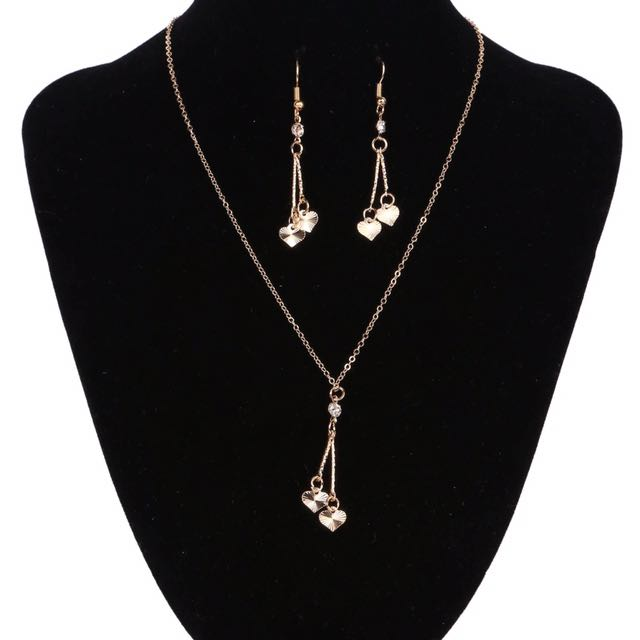 Gold Heart Vintage Jewelry Sets