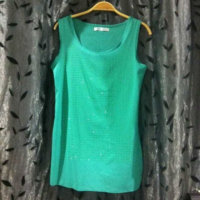 Green Neon Studded Chiffon Top