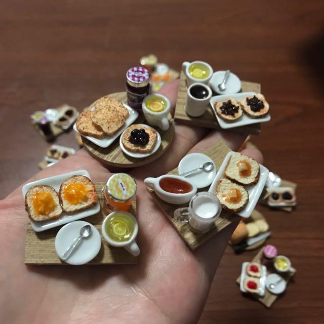 Handmade Miniature Breakfast Set - Toast Bread & Jam With Drink