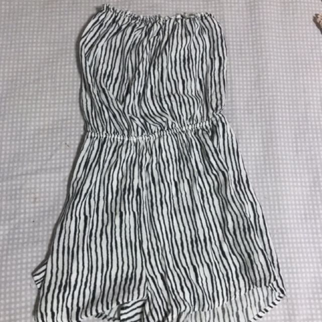 H&M black and white tube romper