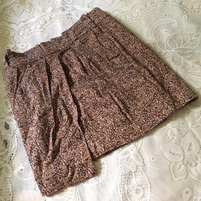 H&M Brown Floral Wraparound-like Skirt