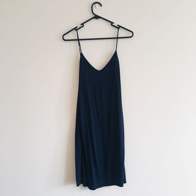 H&M navy blue cotton slip dress