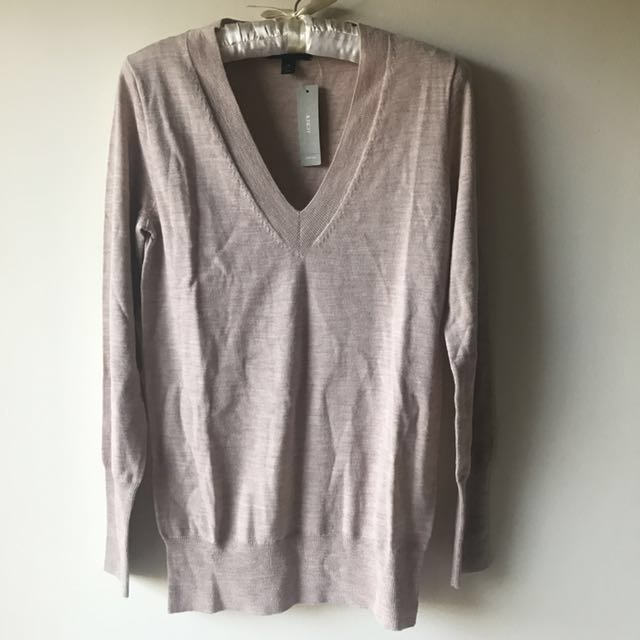 J. Crew Beige Knit Top Tan V-Neck Nude Long Sleeves BNWT Size XS
