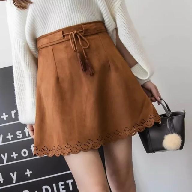 [RS] Khaki Tassels Suede Skirt