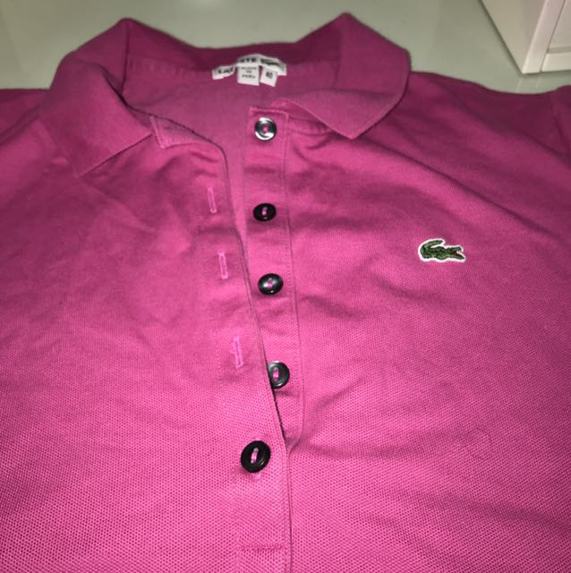 Lacoste pink polo button up