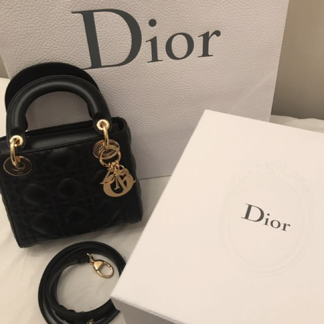 Lady dior mini black lambskin with ghw 7d70a698a9e22