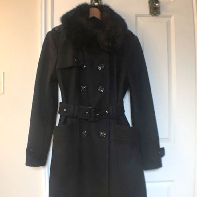 London Fog Black Wool Trench Coat