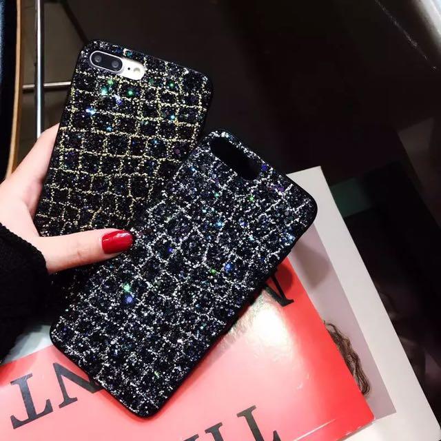 Luxury iPhone cases 6/7/8/X sparkling glitter black starry