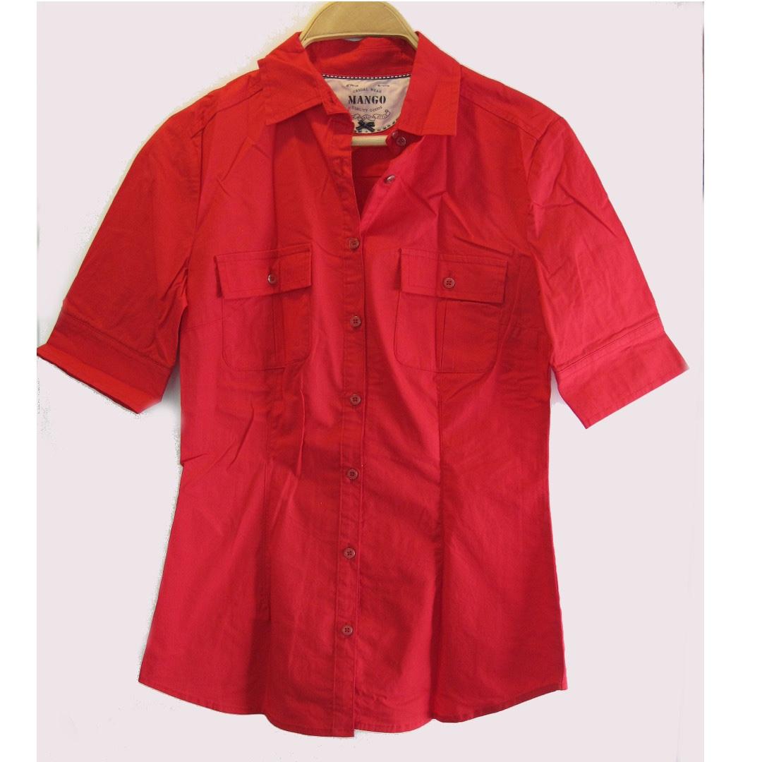 Mango Red Dress Shirt