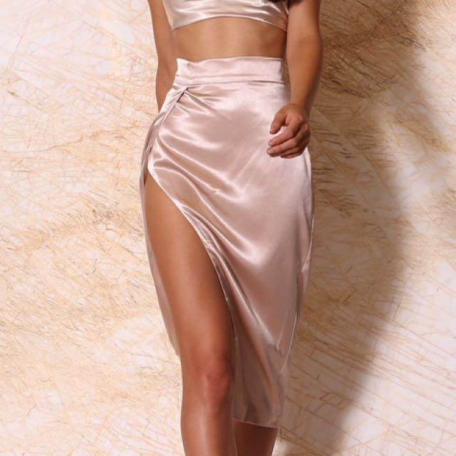 MESHKI Liliana Satin Wrap Midi Skirt