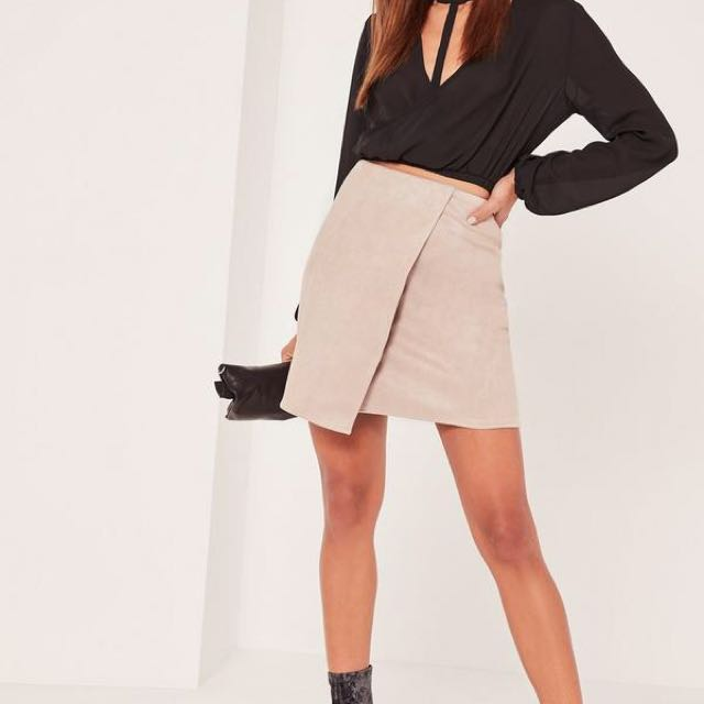 Missguided suede midi cross over skirt