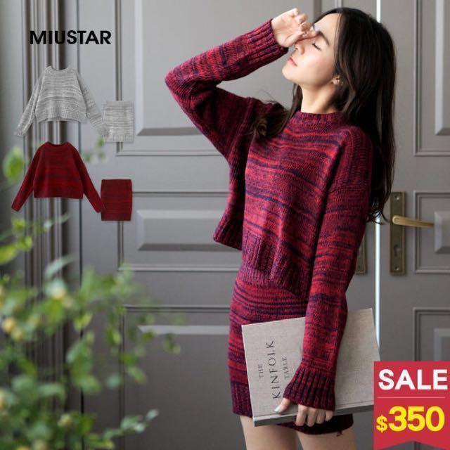 miustar套裝兩件式混色紅黑圓領長袖毛衣短裙窄裙毛線針織