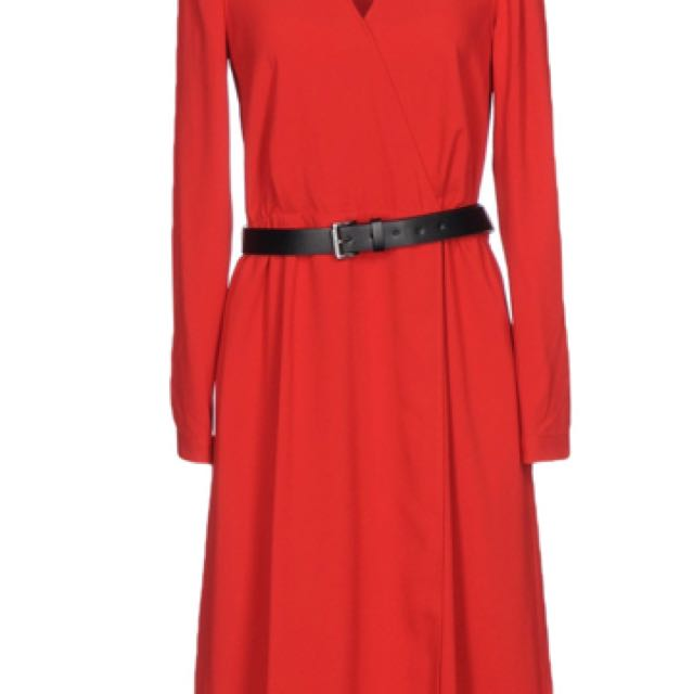 MK Michael Kors red dress with leather belt