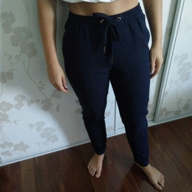 Navy pinstripe pants