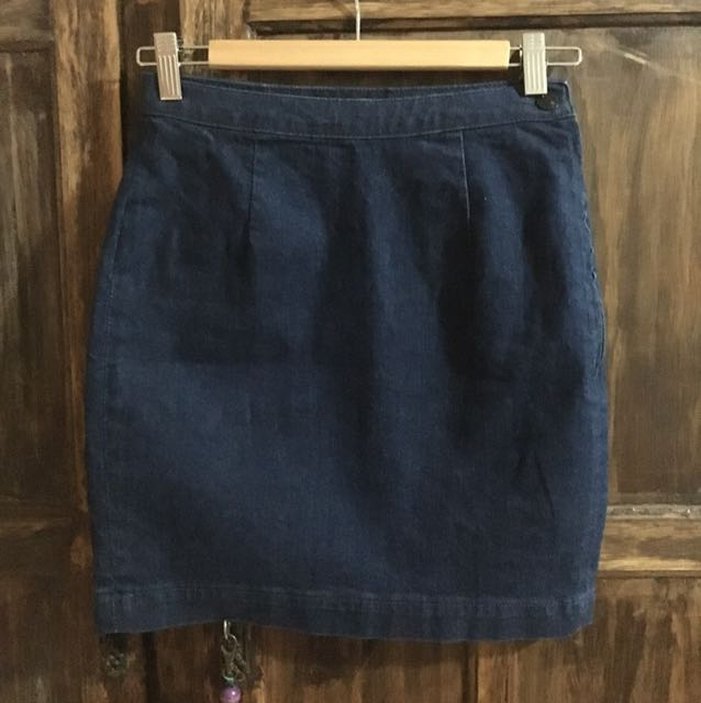 Neuw High Waisted Dark Denim Skirt