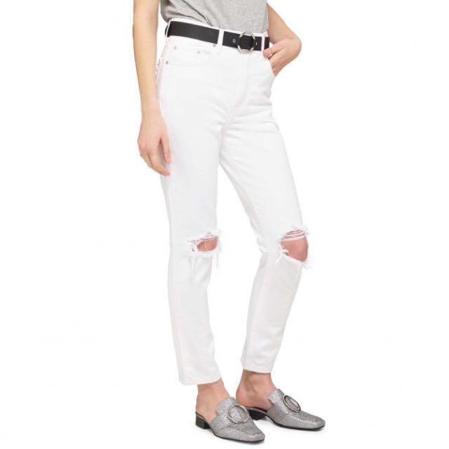 Nobody Denim white ripped boyfriend jeans NWT