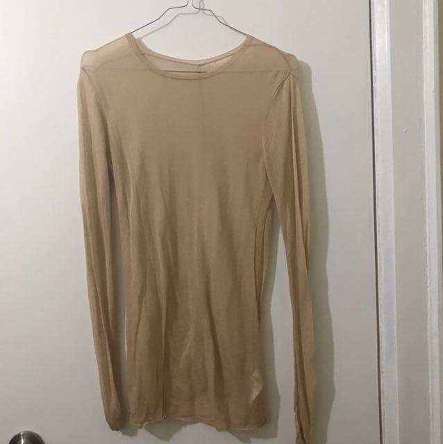 Nude H&M Sheer Longsleeve Shirt