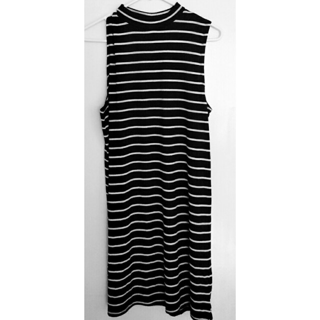 NWT High Neck Sleeveless Stripe Dress M