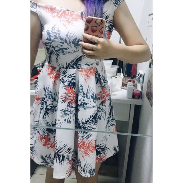 Off Shoulder Abstract Tropical Printed Neoprene Dress
