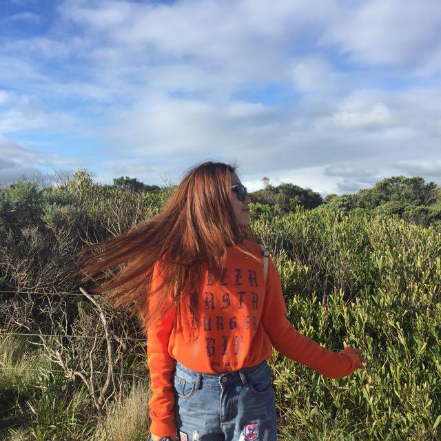 Orange winter wear top