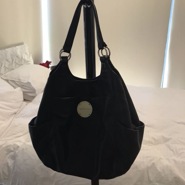 OROTON Black Genuine Leather Tote Bag