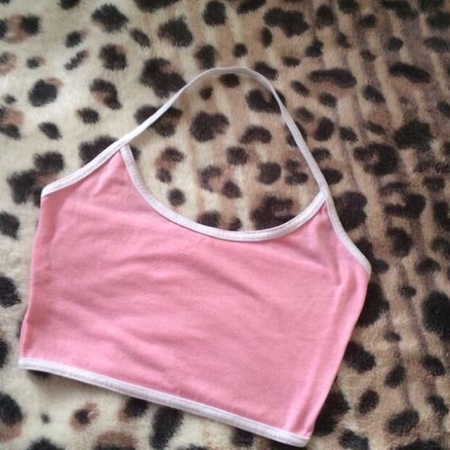 Pink Cropped Halter Top