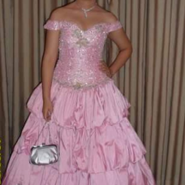 Pink Elegant Pink Gown with beadworks