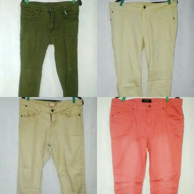 Plus Size Army Green Beige Pastel Yellow Salmon Pants Jeans