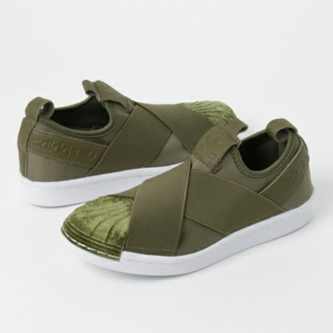new style e8e86 7a3a6 (PO) Adidas Womens Superstar Slip On Olive Cargo, Women s Fashion, Shoes on  Carousell