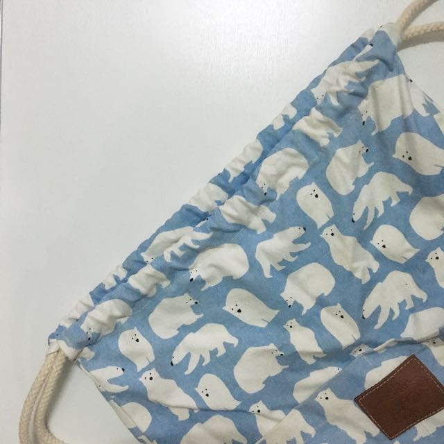 Polar Bear Large Drawstring Bag