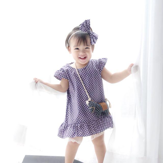 Polka purple dress include headband