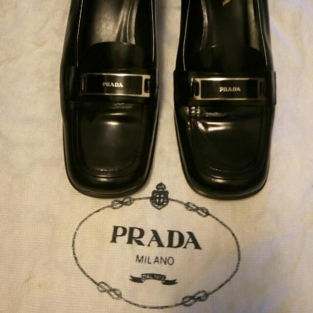 PRDAD經典logo黑色中高跟鞋38