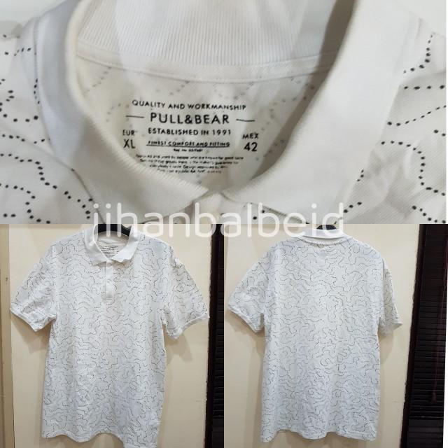 Pull & Bear Putih Bintik Hitam (Polo Shirt Murah ORIGINAL)