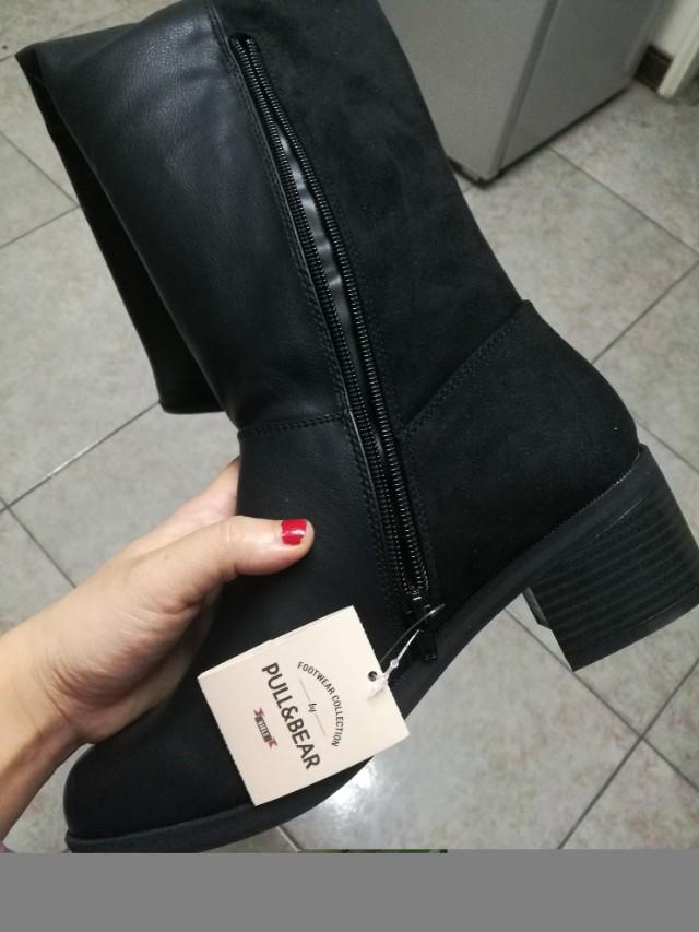 Pull&Bear全新黑色膝上靴